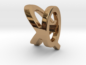 Two way letter pendant - KQ QK in Polished Brass
