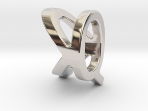 Two way letter pendant - KQ QK in Rhodium Plated Brass