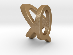 Two way letter pendant - KQ QK in Matte Gold Steel