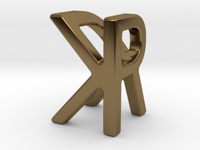 Two way letter pendant - KR RK in Polished Bronze