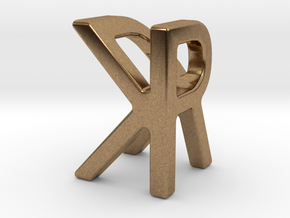 Two way letter pendant - KR RK in Natural Brass