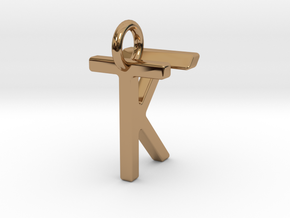 Two way letter pendant - KT TK in Polished Brass