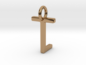 Two way letter pendant - LT TL in Polished Brass