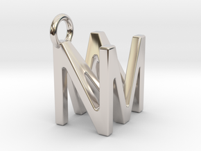 Two way letter pendant - MN NM in Rhodium Plated Brass