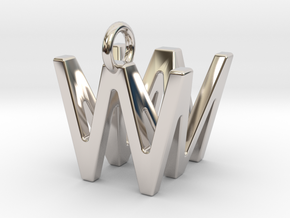 Two way letter pendant - MW WM in Rhodium Plated Brass