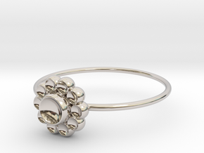 Size 7 Shapes Ring S4 in Rhodium Plated Brass