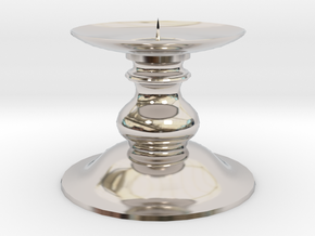 Candle Holder 1 in Rhodium Plated Brass