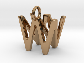 Two way letter pendant - NW WN in Polished Brass
