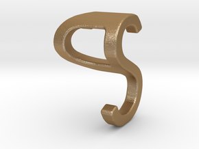 Two way letter pendant - PS SP in Matte Gold Steel
