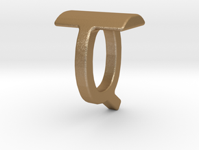 Two way letter pendant - QT TQ in Matte Gold Steel