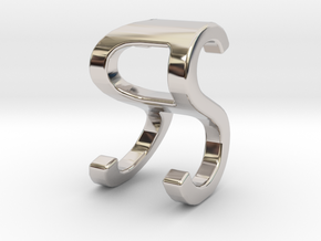 Two way letter pendant - RS SR in Rhodium Plated Brass