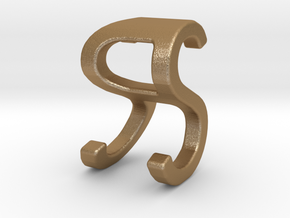 Two way letter pendant - RS SR in Matte Gold Steel