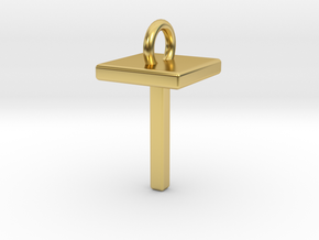 Two way letter pendant - TT T in Polished Brass