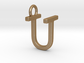 Two way letter pendant - TU UT in Matte Gold Steel