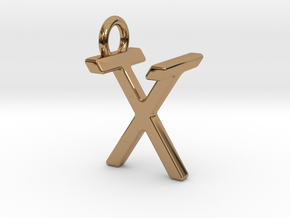 Two way letter pendant - TX XT in Polished Brass