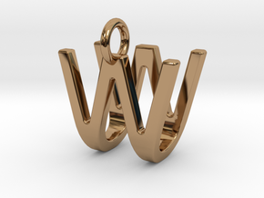 Two way letter pendant - UW WU in Polished Brass