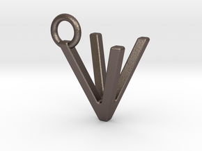 Two way letter pendant - VV V in Polished Bronzed Silver Steel