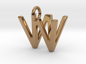 Two way letter pendant - VW WV in Polished Brass