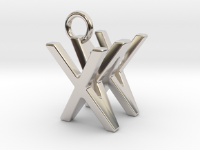 Two way letter pendant - WX XW in Rhodium Plated Brass
