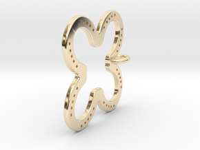 Tilted Horseshoe with luck in 14K Yellow Gold