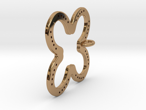 Tilted Horseshoe with luck in Polished Brass