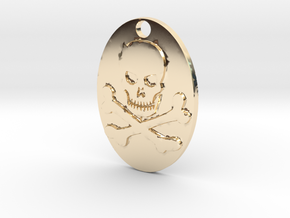 Skull and Crossbones Pendant in 14K Yellow Gold