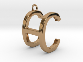Two way letter pendant - CH HC in Polished Brass