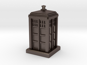 N Gauge - Police Box  in Polished Bronzed Silver Steel