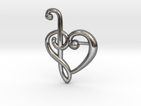 Clef Heart Pendant in Fine Detail Polished Silver