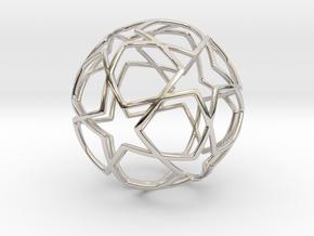 iFTBL Ornament / Star Ball - 40 mm in Rhodium Plated Brass