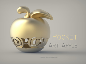 Pocket Art Apple in 18k Gold Plated Brass