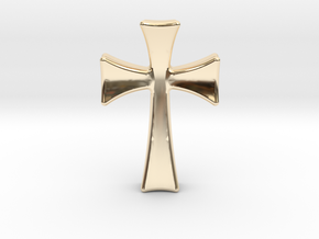 Germanic Cross Pendant, 45mm Tall in 14k Gold Plated