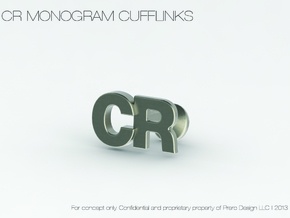 Monogram Cufflinks CR in Polished Bronzed Silver Steel