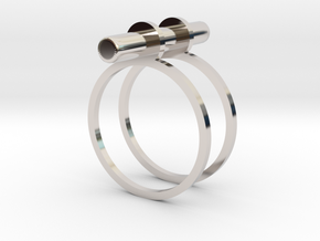 Cerc - Size 9 US in Rhodium Plated Brass