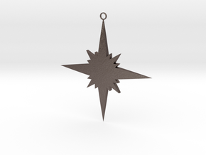 Star Christmas Decoration in Polished Bronzed Silver Steel