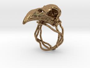 Raven skull ring  in Natural Brass