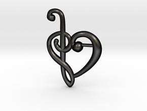 Clef Heart Pendant in Matte Black Steel