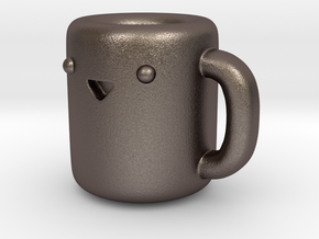 Happy Coffee Cup [Pendant] in Polished Bronzed Silver Steel