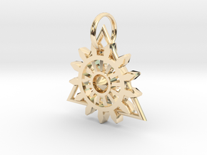 Steam Punk Gear Charm in 14k Gold Plated Brass