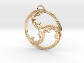 Triskele with rims in 14K Yellow Gold
