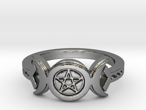 Triple Moon Pentacle Decorated Band Ring Size 8 in Fine Detail Polished Silver