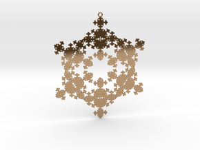 Snowflake Fractal 1 Customizable in Polished Brass