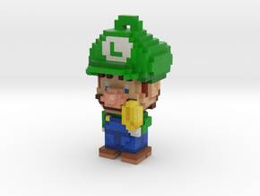 Super Plumber Green Bro Voxel Ornament in Full Color Sandstone