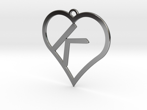 K-Heart Necklace in Fine Detail Polished Silver
