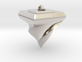 Twisted Pyramid in Rhodium Plated Brass