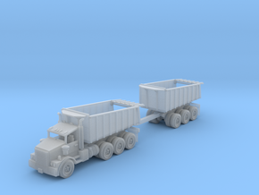 tri-axle DumpTruck W Bed Trailer Zscale in Smooth Fine Detail Plastic