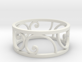Golden Spiral Ring Size 7 (6 Flipped) in White Natural Versatile Plastic