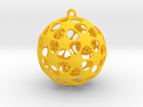 Hadron Ball - 4cm in Yellow Processed Versatile Plastic