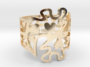Gye Nyame Hearts Ring in 14K Yellow Gold