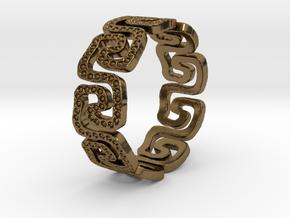 Schlangenmäander BorKlFinger Ring Size 8.5 in Polished Bronze